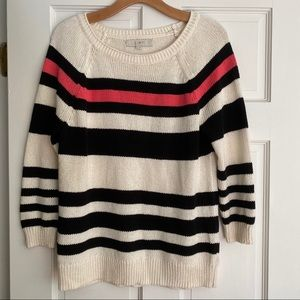 LOFT Off White Black and Pink Striped Sweater M